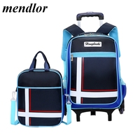 New Primary School Trolley Bags Children Backpack 2pcs sets Waterproof Schoolbag Child with 2/6 Wheels Removable School bags