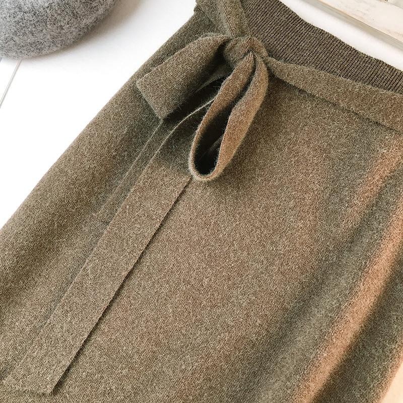 344 water velvet knit skirt women 2018 autumn and winter new women's long section high waist bag hip split A skirts 15