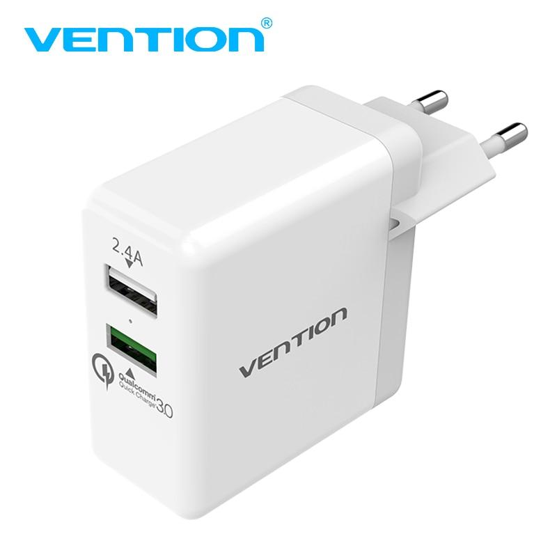 Vention Быстрый Зарядное устройство 3.0 2 порта <font><b>USB</b></font> Зарядное устройство ЕС Plug белый мобильный телефон Зарядное устройство для Xiaomi HTC Google QC3.0 быстро &#8230;