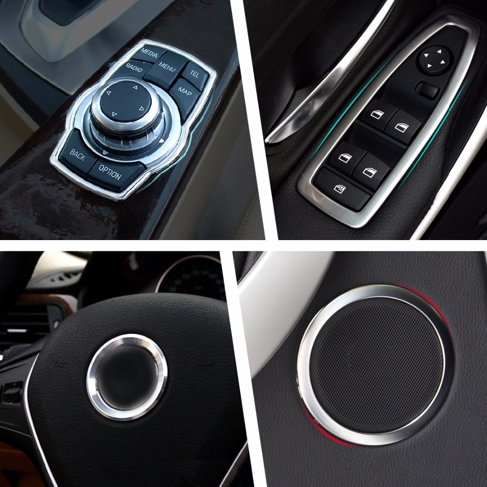For BMW Window Switch Door Speaker Cover Buttons Trim Steering Wheel Logo Ring