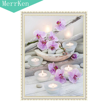 5d Diy diamond painting cross stitch Candles spend embroidery mosaic animal home decor 30x40