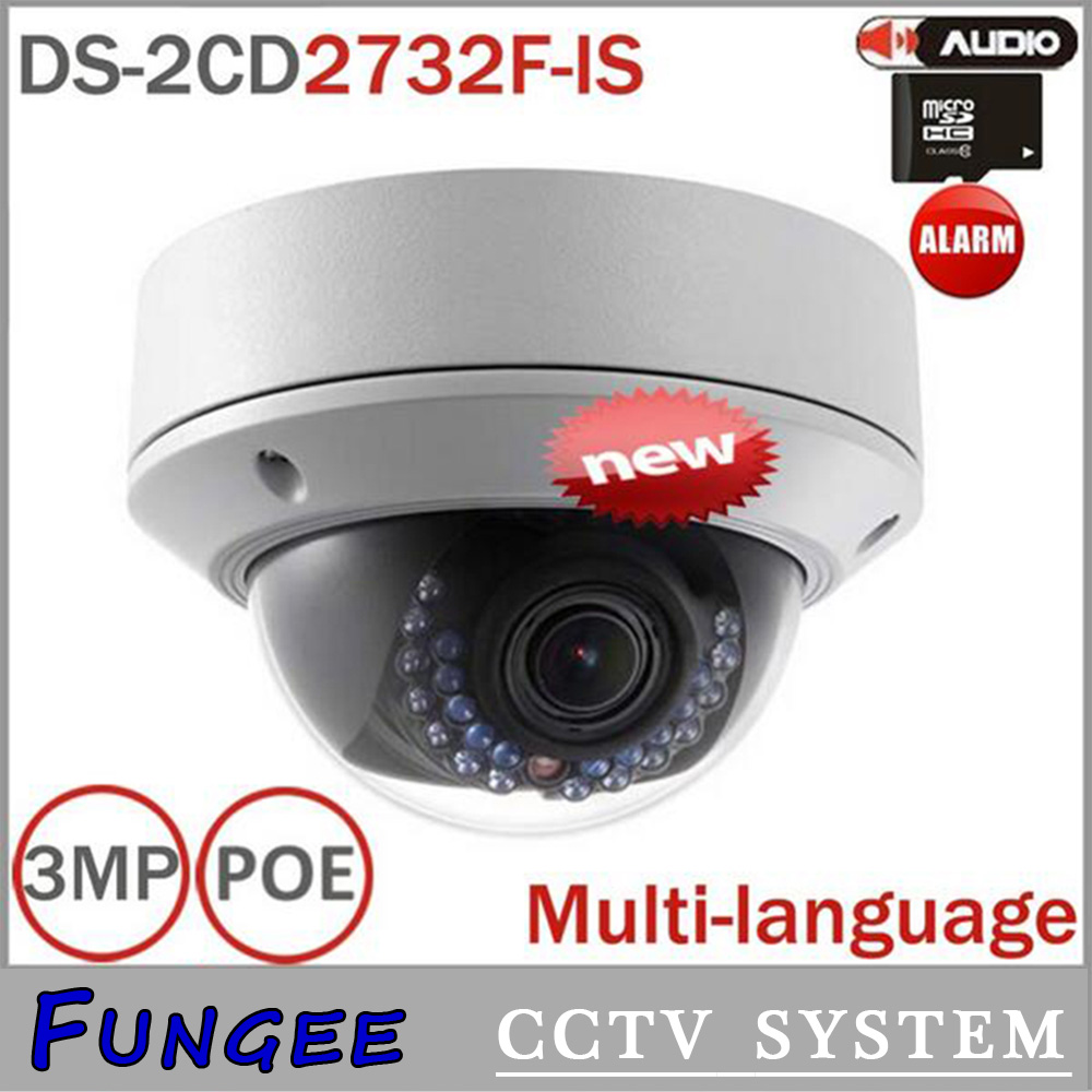 Original DS 2CD2732F IS 3MP varifocal zoom outdoor IP dome camera CCTV POE Vandal proof support