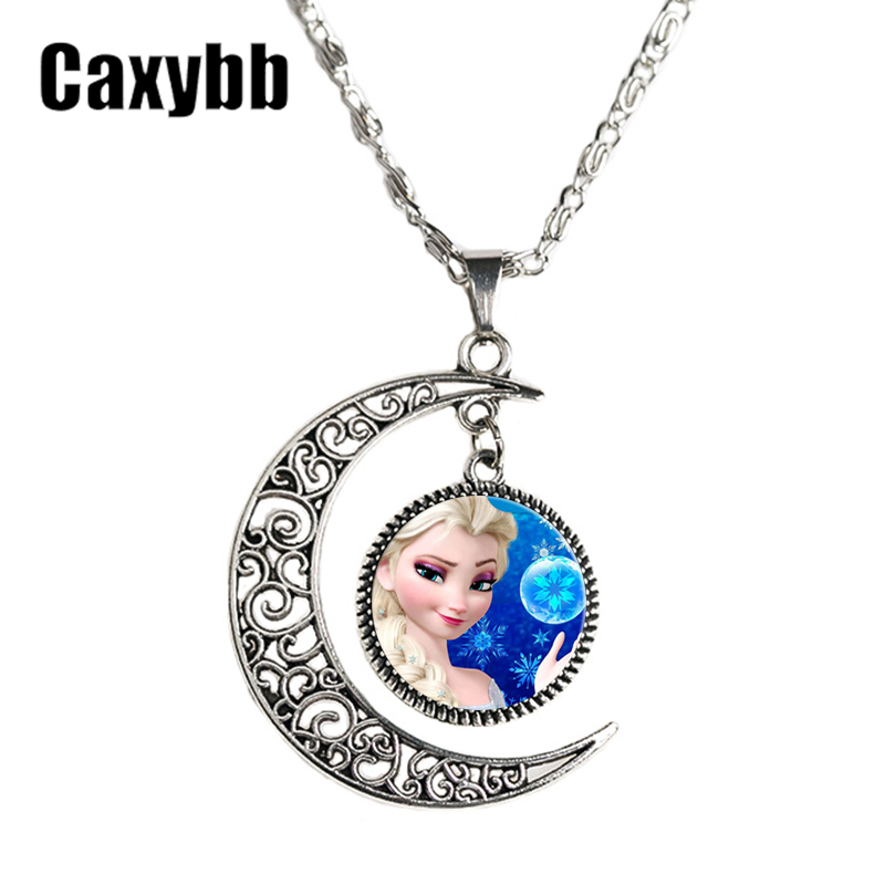 Snow Queen Diamontrigue Jewelry: Caxybb Movie Jewelry Silver Moon Necklace Vintage Style