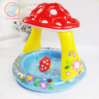 Inflatable mushroom shaped Safety Baby Kids Swimming Ring Pool PVC Toy Float Boat Seat Float Adjustable Parasol pool games