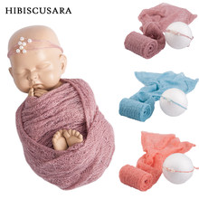 40*150 cm Newborn Baby Mohair Photography Wraps Blanket With Pearl Headband Headwear Infant Soft Knitted Wrap Cloth Accessories(China)