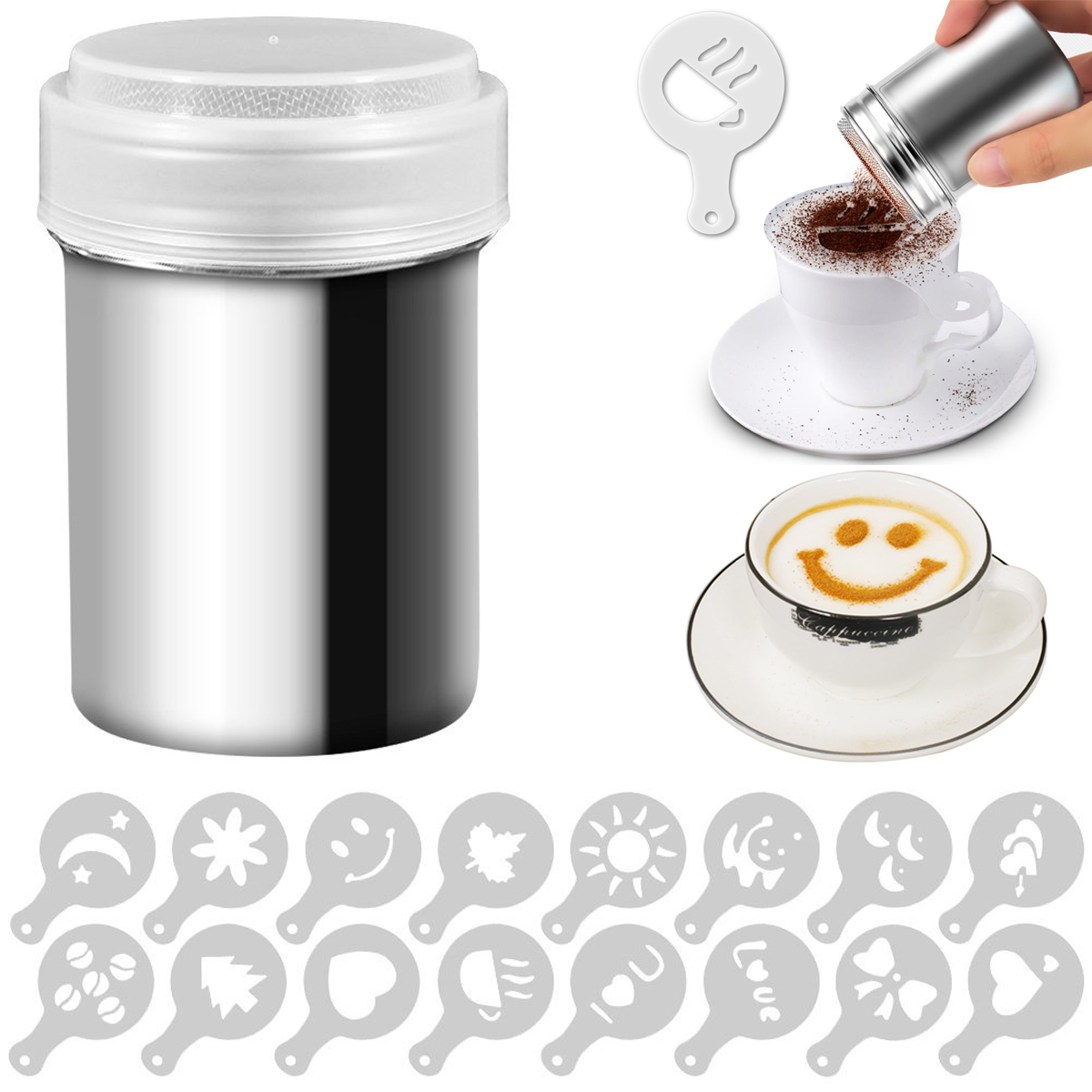 Cappuccino Mold Fancy Coffee Printing Model Foam Spray Cake Stencils Powdered Sugar Chocolate​ Cocoa Coffee Printing AssemblyD40