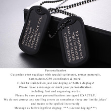 Name Necklace Personalized Statement Men Chain Jewelry Gift for Him Stainless Steel Black Choker Dogtag Military Army Style