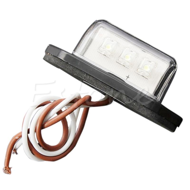 12/24V 3 LED REAR TAIL LICENSE NUMBER PLATE LIGHTS LAMP TRUCK TRAILER WATERPROOF