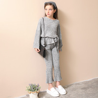 Fashion Girls Knitted Sets Two pieces Flare Sleeve Sweatshirts Pants age 6 8 10 12 14 15 years Teenage Girls Clothing