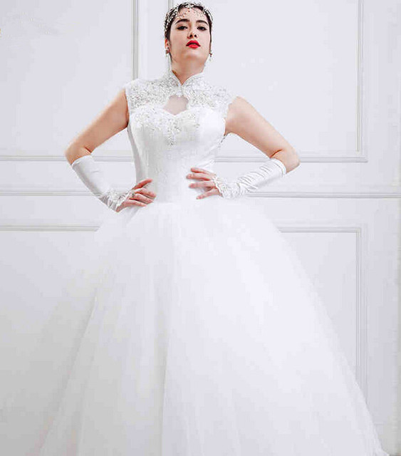 3be5810a678 High Neck Large Size Wedding Dresses White Tulle Open Back Ball Gown Full  Figure Bridal Gown For Big Women Custom Made
