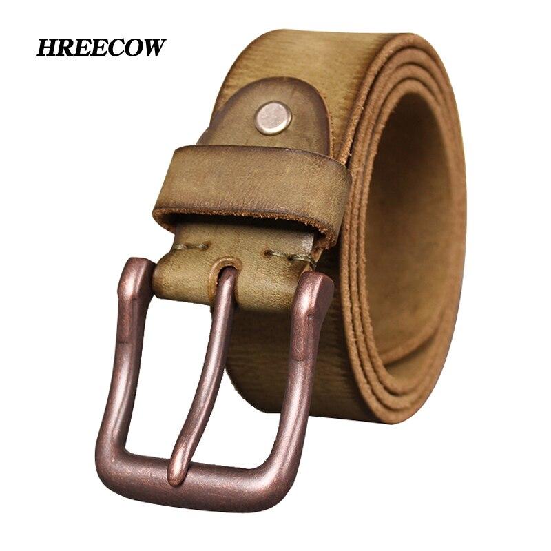 Marke Top Kuh echtes leder gürtel für männer jeans gürtel Tun alten designer pin schnalle retro vintage herren cowboy gürtel männlichen ceinture