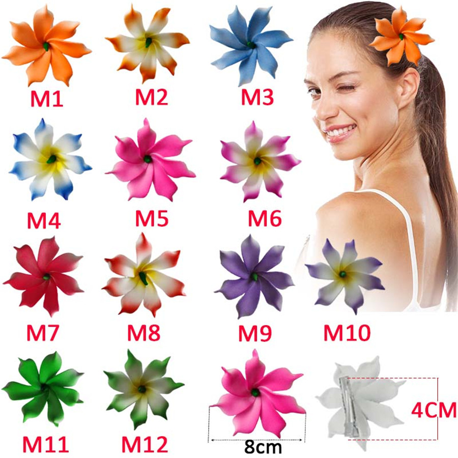 2 pcs lot 8 cm 2019 Fashion korean Foam Hawaiian flowers Artificial flowers girls hairpins barrette bride women hair accessories in Women 39 s Hair Accessories from Apparel Accessories