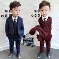Children Boys Formal Suit Gentleman 3 PCS Set Jacket Pants Vest for Wedding Birthday Party