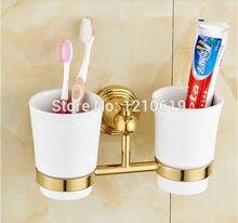 Uythner недавно сша free доставка евро стиль ванной для зубных щеток полка золотой полированной базы двойные керамика чашки настенные