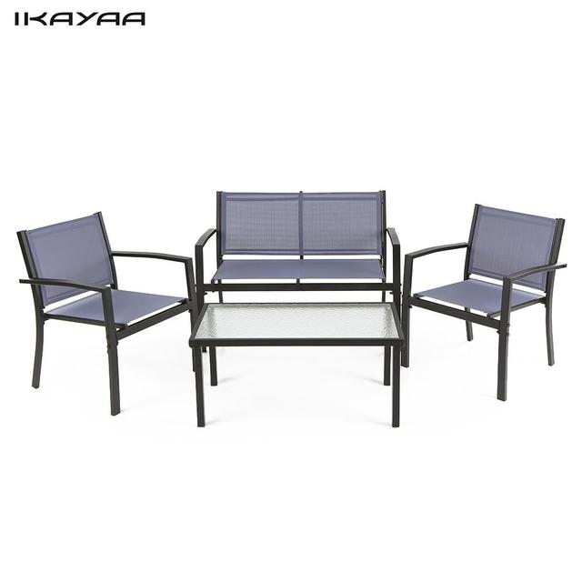 ikayaa 4pcs patio garden furniture set porch sofa chairs table outdoor conversation set steel frame blue - Garden Furniture Steel