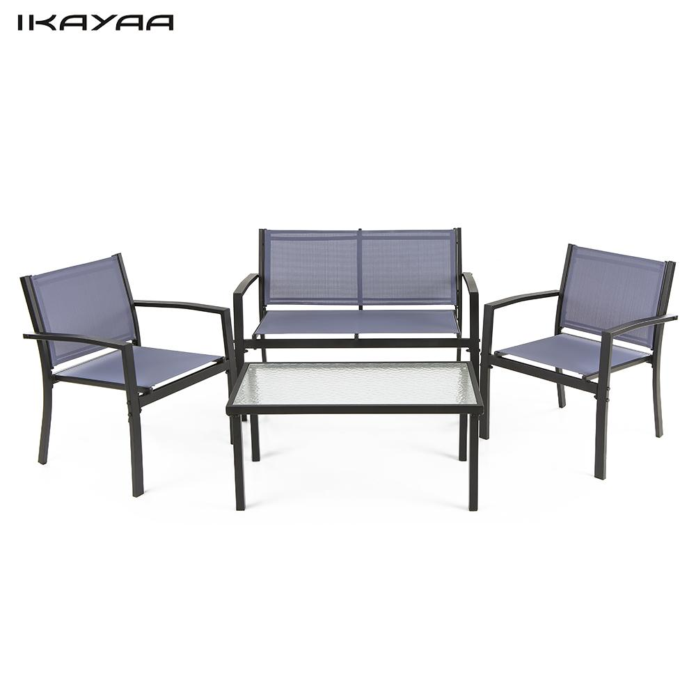 IKayaa 4PCS Patio Garden Furniture Set Porch Sofa Chairs Table Outdoor  Conversation Set Steel Frame Blue