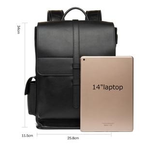 Image 2 - BISON DENIM Genuine Leather 14 inches Backpack Mens Travel Bag Waterproof Daypack USB Charging School Backpack N2645