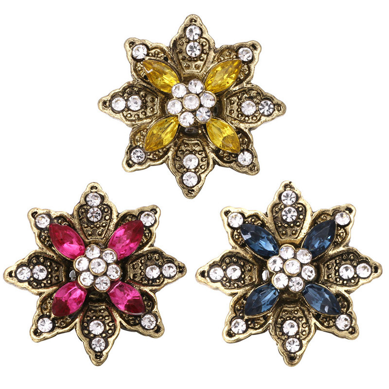 Chic Flower Rhinestone Peal Snaps Buttons Charms Fit 18mm Snap Jewelry