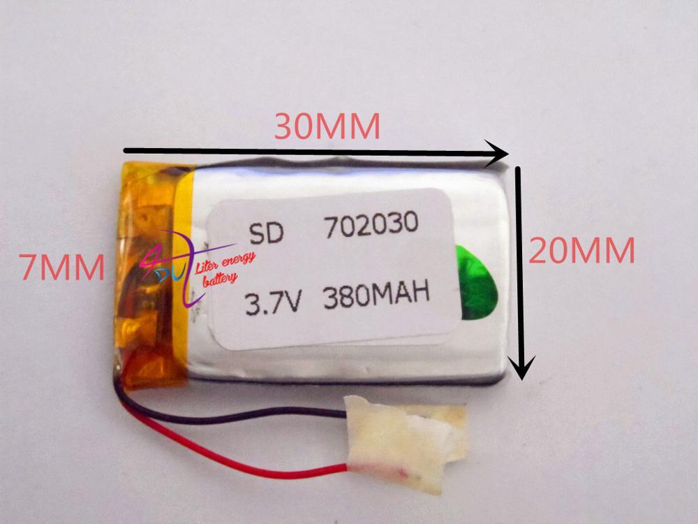 Tamaño 702030 3,7 V 380 mAh batería de la energía del litro batería del polímero del litio con la tarjeta para juguetes Mp4 productos digitales