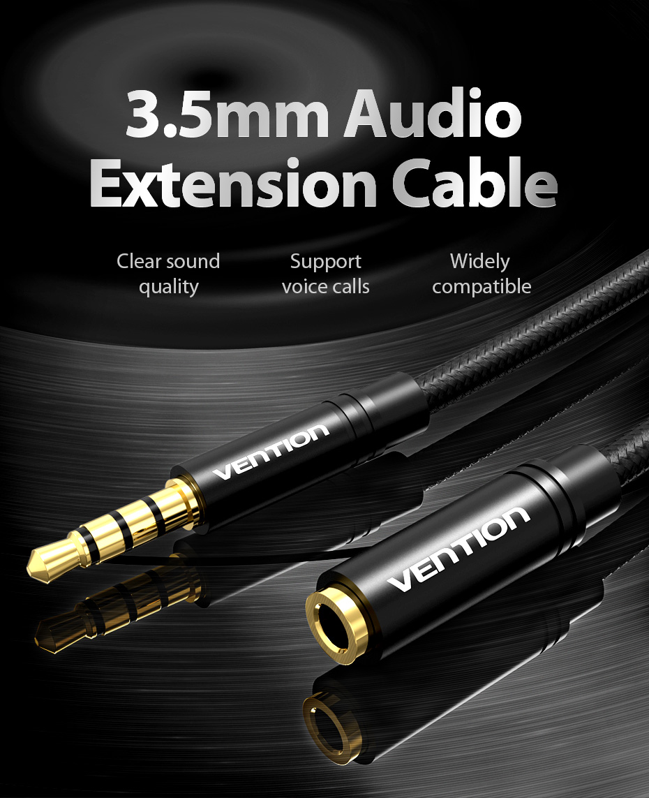 Vention Aux Extension Cable Audio 3.5mm Jack Male to Female Cable for Huawei P20 Headphone MP3 MP4 Player PC Extender Aux Cable