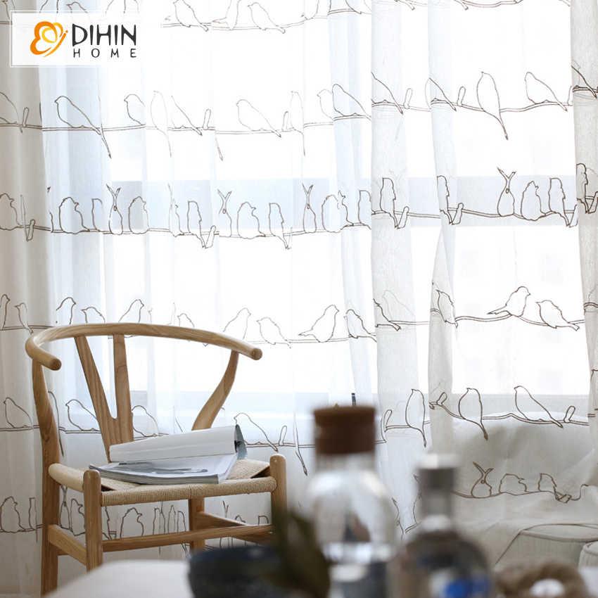 DIHIN 1 CÁI Hàn Quốc Birds Thêu Rèm Cửa Vải Tuyn cho Phòng Ngủ Linen Rèm Cửa Tuyệt đối cho Phòng Khách Sẵn Sàng Thực Hiện Rèm Cửa Nhà Bếp