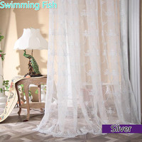 Quality Fashion Gold Embroidery Tulle Window Screen Balcony Finished Sheer Curtain Customize