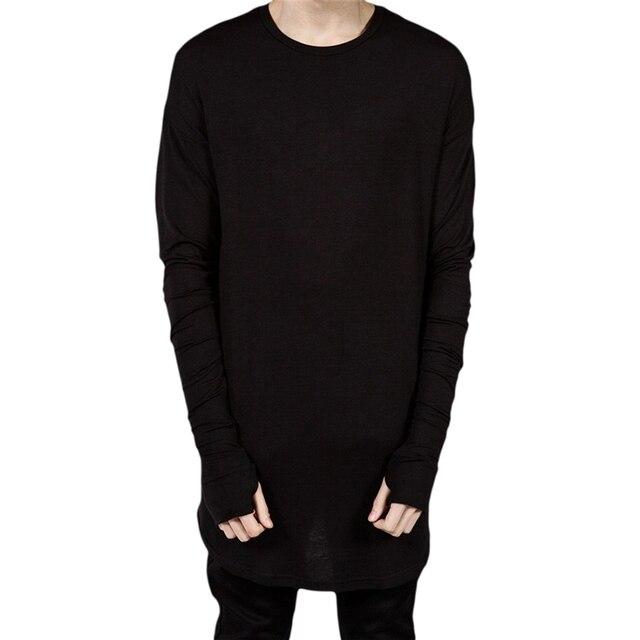 Moda Buraco Do Polegar Punhos Manga Comprida Tyga Ganhos Estilo Lado Dos Homens dividir Hip Hop T Shirt Top Tee Tripulação Lã T-shirt Dos Homens roupas