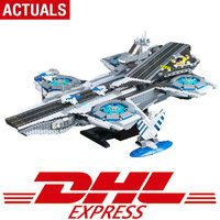 DHL Super Heroes series Logoing 76042 The shield Helicarrier Model Building Blocks Compatible original classic toys for children