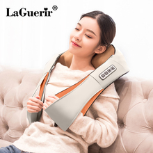 LaGuerir Home Car U Shape Electrical Shiatsu Back Neck Shoulder Body Massager Infrared Heated Kneading Car/Home Massagem(China)