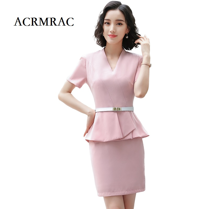 ACRMRAC Women's Clothing New Short Sleeve Pure Color Self-cultivation V-Neck Jacket Skirt Commerce OL Formal Skirt Suits