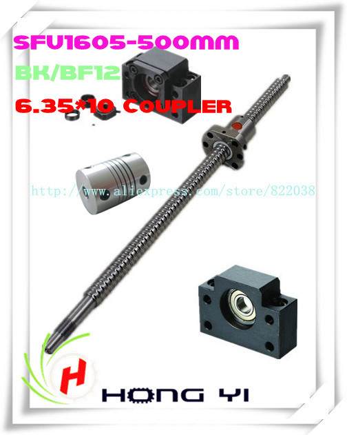 1pcs Ball screw SFU1605 L=500mm + 1pcs Ballscrew Ball nut + 2pcs6.35*10 Coupler + 1 set BK12/ BF12 Support CNC 1pcs ball screw sfu1605 l 300mm 1pcs ballscrew ball nut 1 set bk12 bf12 support cnc