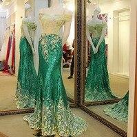 Shiny xanh mermaid evening dress sweetheart corset lại dài sequin evening đảng dress robe soiree longue femme