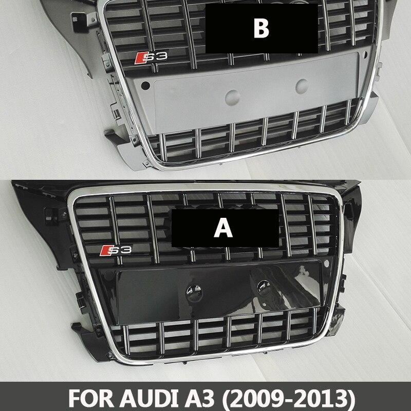 2009-2013 S3 style A3 grilles ABS chromé noir pare-chocs avant grille center grill racing grills Fit pour Audi a3