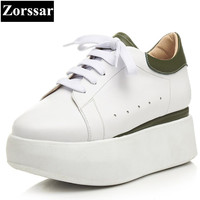 Zorssar 2017 New High Quality Fashion Womens Creeper Shoes Casual Flat White Shoes Lace Up