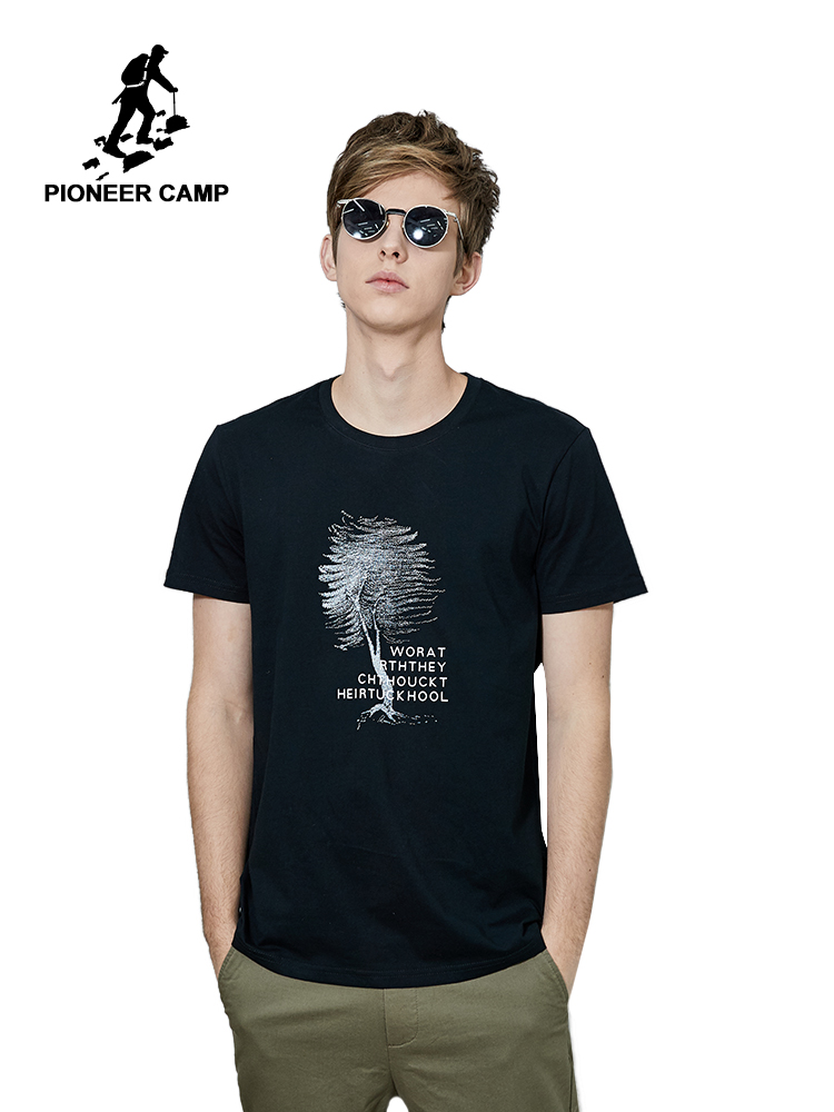 Pioneer Camp Short Sleeve T Shirt Mens Brand Clothing Casual Tree Printed T-shirt Pure Cotton High Quality Tees Men  ADT906240