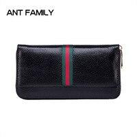 Women Wallets Genuine Leather Wallets Women Long Zipper Wallet Fashion Female Cell Phone Wallets Cow Leather