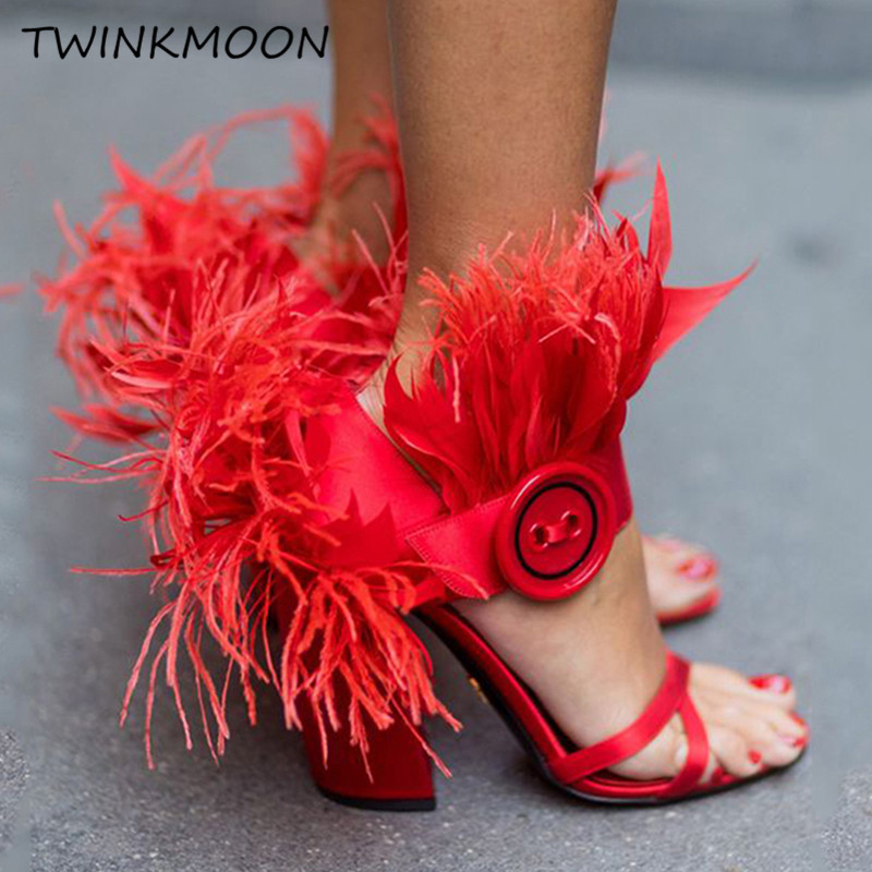 Summer Sandals Button-Block Feather-Shoes Runway Ostrich High-Heels Satin Mujer Red Fur
