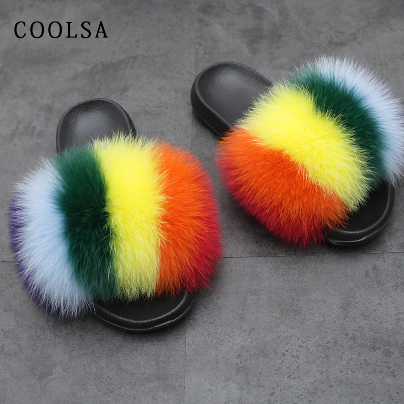 Fashion Mixed Colors Fox Slippers Women Rainbow Shoes Fox Fur Slides Fluffy Soft House Slippers Female Cute Fuzzy Fur Flip Flops