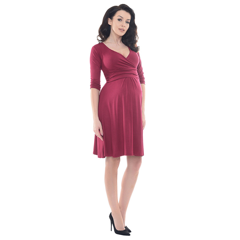 New Fashion Pregnancy Clothes Women V Neck Middle Sleeve Printed Maternity Breastfeeding Dresses