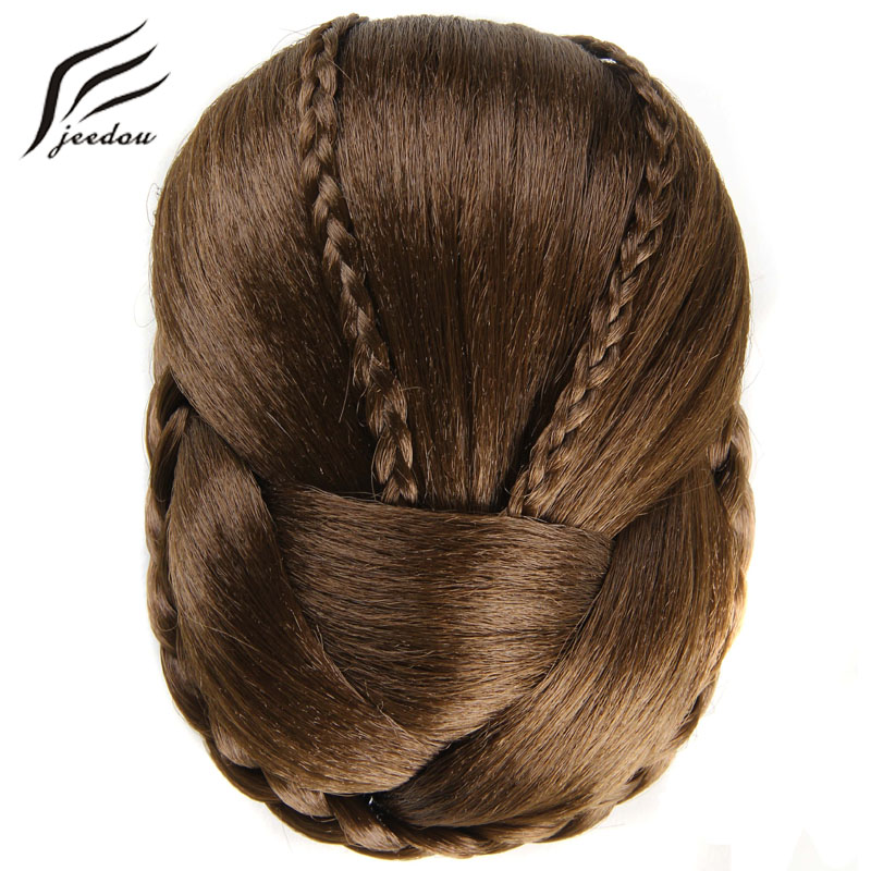 Jeedou J-36-2-1 Exquisite Braided Chignon Multi-tiered Braids Synthetic Hair Bun Pad Black Brown Color Elegant Vintage Updos