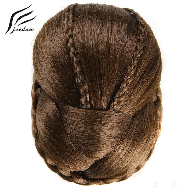 Jeedou J-36-2-1 Exquisite Braided Chignon Multi-tiered Braids Synthetic Hair Bun Pad Black Brown Color Elegant Vintage Updos