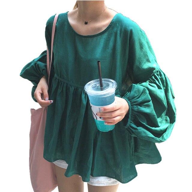 Lantern Sleeve Blouse Spring Autumn Korean fashion women plus size blouses Cotton Linen long sleeve cute baby doll batwing tops