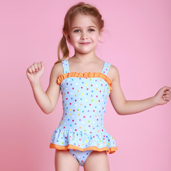 2015 Summer Girls Bathing Suits Child One Piece Dot Print ...