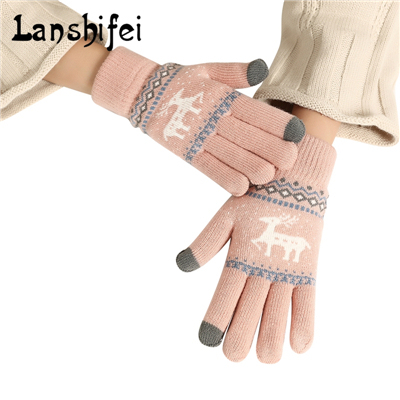 Women Knitted Touch Screen Five Fingers Gloves Winter Cute Elk Pattern Colorful&Soft Cotton Gloves Korean Style Knitting Mittens