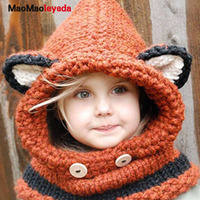 Warm Neck Wrap Fox Ear Winter Windproof Baby Hats And Scarf Set For Kids Boys Girls Shapka Caps For Children Wool Knitted Hats