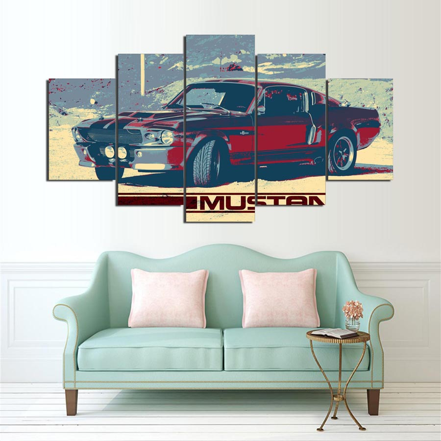 modern canvas wall art pictures frame living room home decor poster 5 panel red vintage car modular printed hd painting pengda
