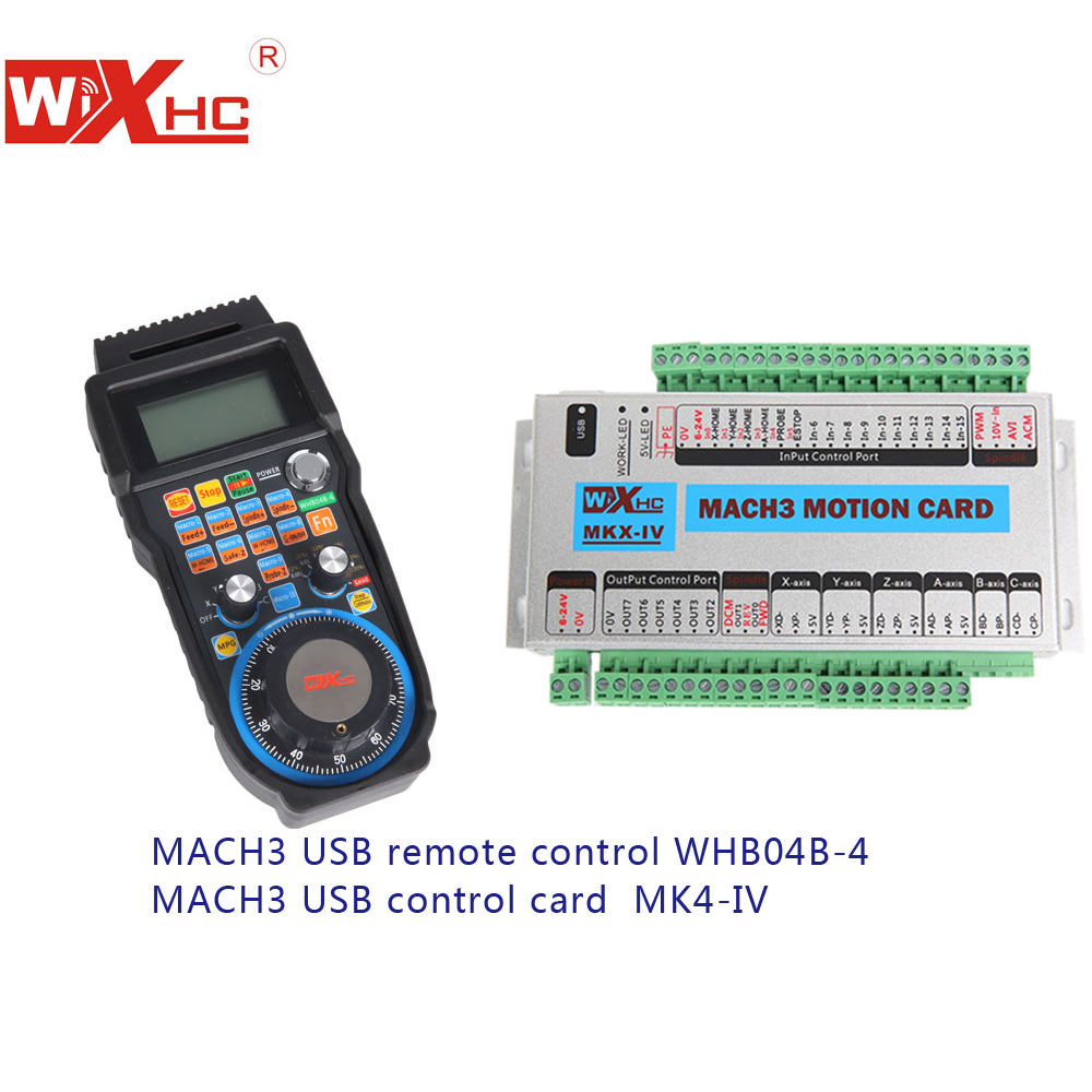 US $263 0 |XHC 4 AXIS Mach3 USB cnc motion controller with Wireless USB cnc  remote, 2MHZ for controller,LCD for cnc remote-in CNC Controller from