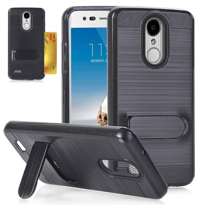 Card Slot Brushed Case for LG K10 2018 Case Back cover for Funda LG K30 Cover LG Premier Pro L413DL K10 (2018) Cover 5.3 Armor