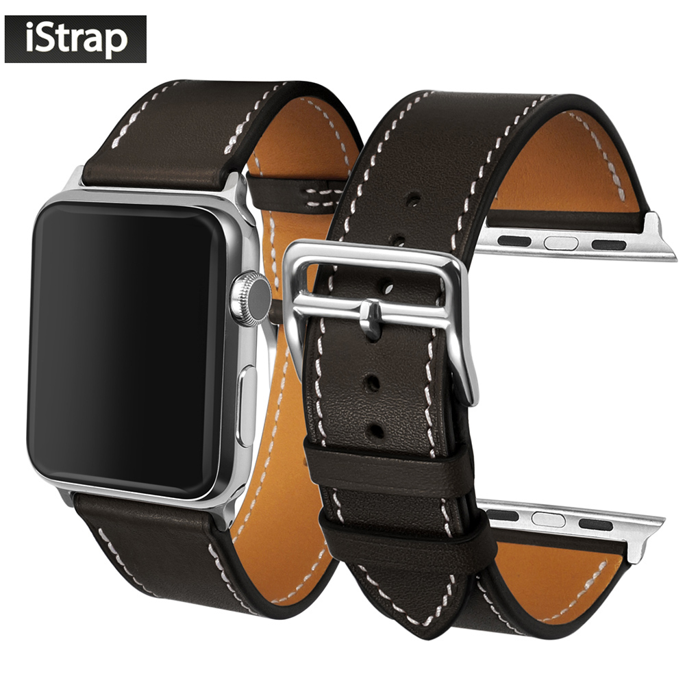 цены iStrap 38mm 42mm Black High Quality Genuine Leather Watch Band For iWatch Replacement Strap For Apple watch strap 38mm 42mm