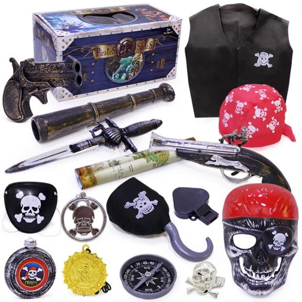 LeadingStar Halloween Pirate Toy Costume Accessories Set Crazy Toy Screaming Mask Facial Skeleton Pirates Toys  zk30 airsoft adults cs field game skeleton warrior skull paintball mask